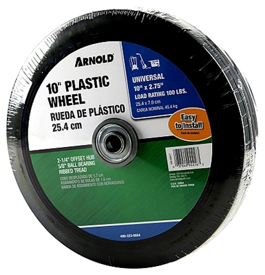 Hand Truck Wheel, Plastic with Rubber Tire, 10 x 2-3/4-In.
