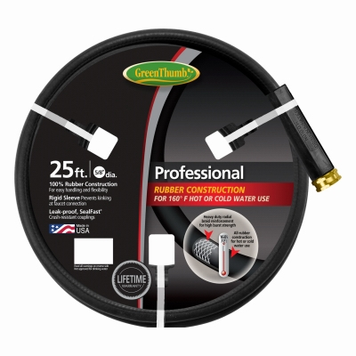 Rubber Garden Hose, Black, 5/8-In. x 25-Ft.