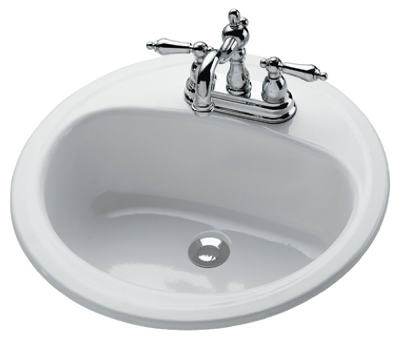 Laurel Porcelain-On-Steel Lavatory Sink, White, 19 x 19-In. Oval