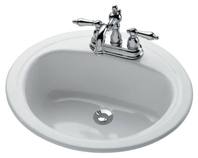 Azalea Porcelain-On-Steel Lavatory Sink, White, 20 x 17-In. Oval