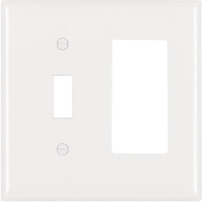 White 1-Toggle & 1 Decorator Opening Urea Wall Plate