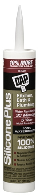 Kitchen & Bath Sealant, Clear Silicone, 10.1-oz.