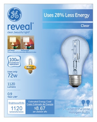 Reveal  72-Watt A-Line Halogen  Bulbs, 2-Pack