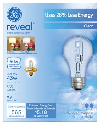 Reveal 43-Watt A-Line Halogen  Bulbs, 2-Pack