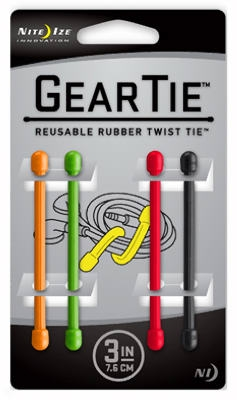 4-Pack 3-Inch Gear Tie, Assorted