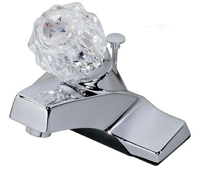 Acrylic-Handle Lavatory Faucet With Pop Up