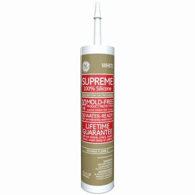 Kitchen, Bath & Plumbing Supreme Silicone Caulk, White, 10.1-oz.