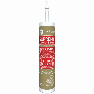 Kitchen, Bath & Plumbing Supreme Silicone Caulk, Almond, 10.1-oz.