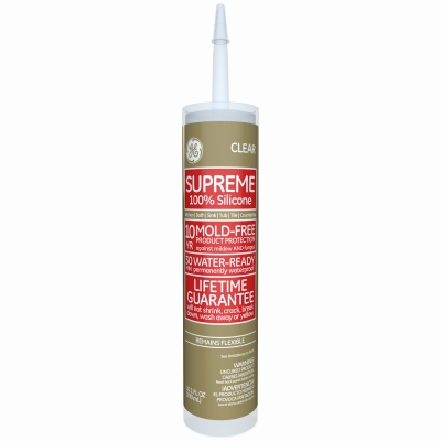 Kitchen, Bath & Plumbing Supreme Silicone Caulk, Clear, 10.1-oz.