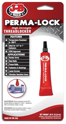 Perma-Lock Threadlocker, Red, 6-ml
