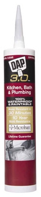 3.0 Kitchen/Bath Adhesive Caulk, Clear, 9-oz.