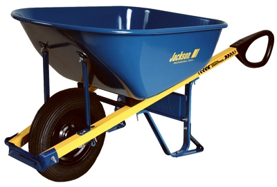 Wheelbarrow, Flat-Free Tire, Blue Steel, 6-Cu. Ft.