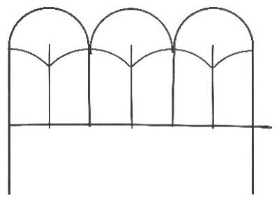 Black Round-Top Garden Fence, 14 x18-In.
