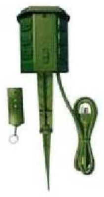 Outdoor Power Stake, With Remote, 6-Outlet, Green, 6-Ft.