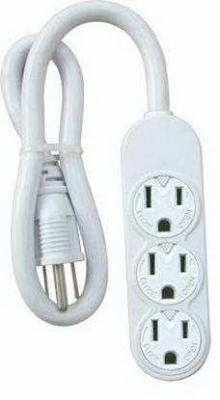 White Mini 3-Outlet Power Strip