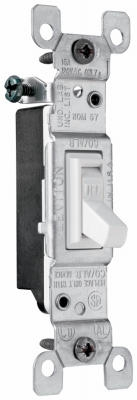 Toggle Switch, Single Pole, White, 120-Volt, 15-Amp