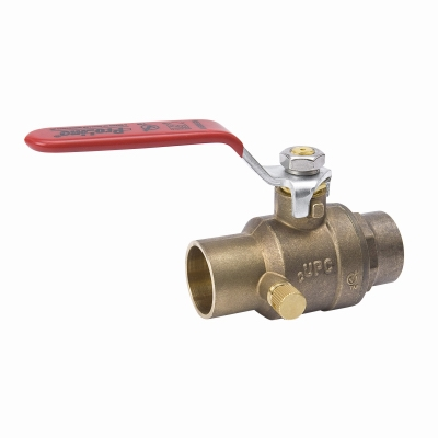 Stop & Waste Ball Valve, Lead Free, Forged Brass, 1/2-In.