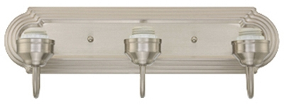 Wall Light Fixture, 3-Light, Brushed Nickel, 100-Watt