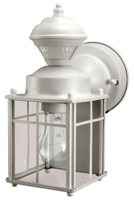 Bayside Mission Light Fixture, Motion-Activated, Matte White, 60-Watt