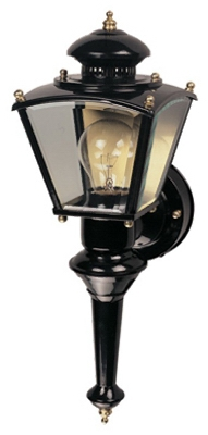 Charleston Coach Light Fixture, Motion-Activated, Black, 100-Watt