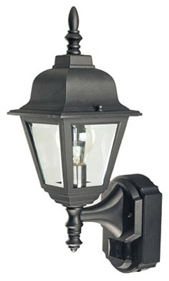 Country Cottage Light Fixture, DualBrite Motion-Activated, Black, 100-Watt