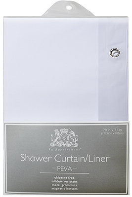 Eco-Soft Shower Curtain Liner, White, 70 x 71-In.