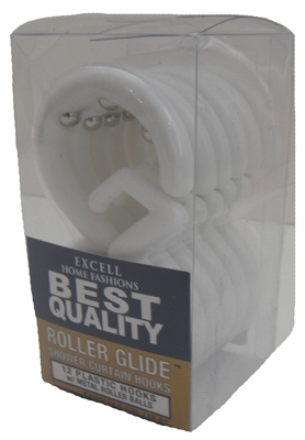 Roller Glide Shower Curtain Hooks, 12-Pack Frosty