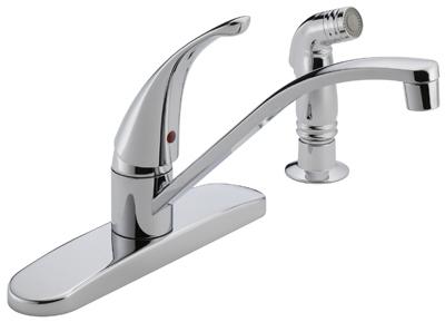Kitchen Faucet, With Spray, Single-Lever, Chrome