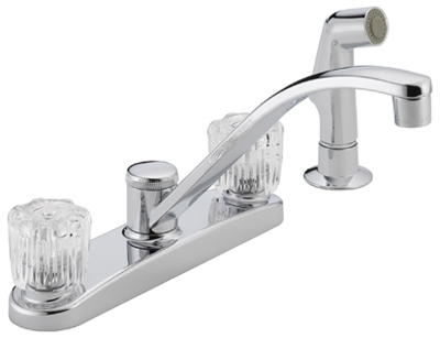 Kitchen Faucet, With Spray, Chrome, Acrylic Knob Handles