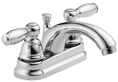 Bathroom Faucet, Teapot Spout, Chrome Finish, 2-Lever Handles
