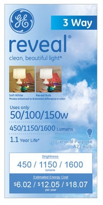 Reveal Light Bulbs, 3-Way, 50/100/150-Watt, Must Purchase in Quantities of 12