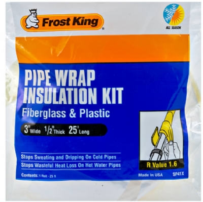 3-Inch x 25-Ft. Fiberglass Pipe Wrap Insulation Kit