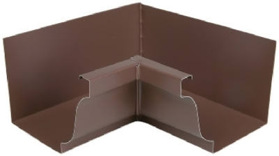 Gutter Inside Mitre, Brown Galvanized Steel, 4-In.