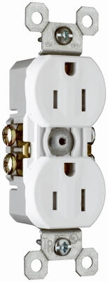 10-Pack White 15-Amp 125-Volt Grounded Duplex Outlet