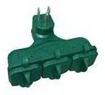 3-Outlet Adapter, Outdoor, Green