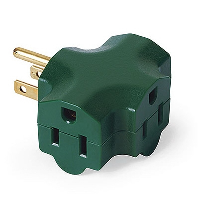 3-Outlet Adapter, Indoor, Green