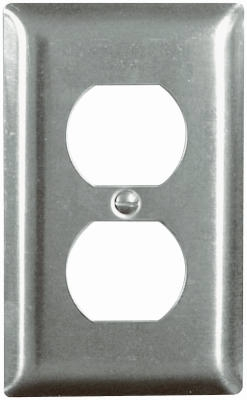 Wall Plate, Duplex Outlet, Stainless Steel