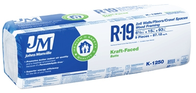 R19 Kraft Batt Fiberglass Insulation, 87.18 Sq. Ft. Coverage, 6.5 x 15 x 93-In.
