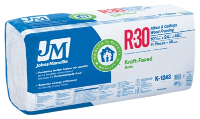 R30 Kraft Batt Fiberglass Insulation, 88 Sq. Ft. Coverage, 10.25 x 24 x 48-In.