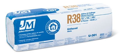 R38 Unfaced Fiberglass Batt Insulation, 42.66 Sq. Ft. Coverage, 13 x 16 x 48-In.