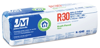 R30 Kraft Batt Fiberglass Insulation, 16 x 48-In.
