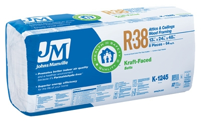R38 Kraft Batt Fiberglass Insulation, 64 Sq. Ft. Coverage, 13 x 24 x 48-In.