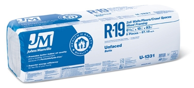 R19 Unfaced Batt Insulation,  88.18 Sq. Ft. Coverage, 6.5 x 15 x 93-In.