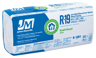 R19 Kraft Batt Fiberglass Insulation, 133.68 Sq. Ft. Coverage, 6.5 x 23 x 93-In.