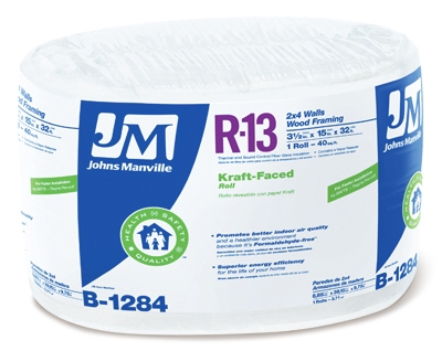 R13 Kraft Fiberglass Insulation, 40 Sq. Ft. Coverage, 3.5 x 15-In. x 32-Ft. Roll