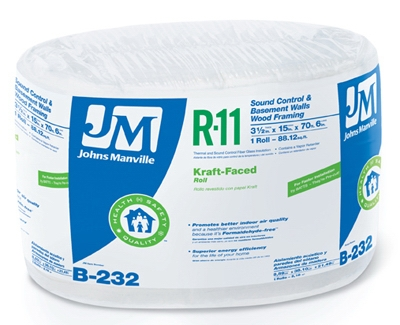 R11 Kraft Fiberglass Insulation, 88.12 Sq. Ft. Coverage,  3.5 x 15-In. x 70' 6