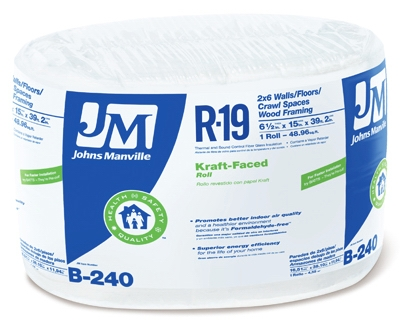 R19 Kraft Fiberglass Insulation, 6.5 x 15-In. x 39' 2