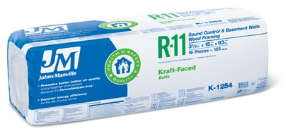 R11 Kraft Batt Fiberglass Insulation, 155 Sq. Ft. Coverage, 3.5 x 15 x 93-In.