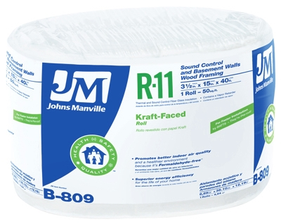R11 Kraft Fiberglass Insulation, 50 Sq. Ft. Coverage, 3.5 x 15-In. x 40-Ft. Roll