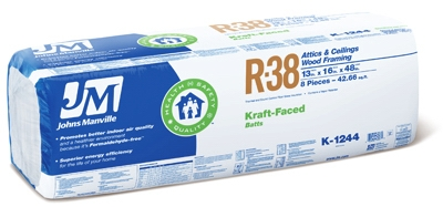 R38 Kraft Batt Fiberglass Insulation, 42.66 Sq. Ft. Coverage, 13 x 16 x 48-In.